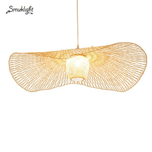 New Chinese Bamboo Weaving Wicker Rattan Shade Cap Ceiling Light E27 Lamps Lanterns Living Room Hotel Restaurant Aisle Lamp