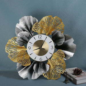 Chinese Wrought Iron Ginkgo Leaf Decorative Wall Clocks Wall Mural Home Living Room Ornaments Wall Hangings Crafts Decor