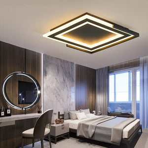 Square Led Chandelier Diameter400520mm BlackWhite Finish Modern Led Chandeliers For Living Room Bedroom Master Room