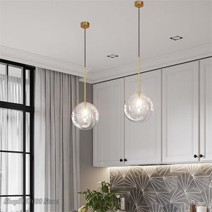 Nordic Clear Glass Pendant Lights Globe Chrome Glass Ball Pendant Lamp Dining Room Kitchen Hanging Lamp Home Decor Light Fixture