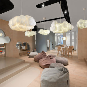 Nordic Clouds Pendant Lights Silk Lamp Dark Clouds Hanglamp Personality Decorate Hanging Light For Hotel Lobby Restaurant