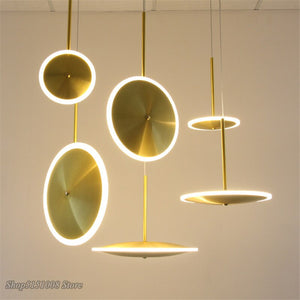 Nordic Creative UFO Pendant Lights Golden Round Aluminum Acrylic LED Kitchen Hanging Lamps Modern Living Room Home Decor Fixture