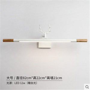 Nordic Creative Antlers LED Vanity Table For Bathroom Mirror Light Wooden Wall Lamp Modern Bedside Lights Wall Mount Luminaira