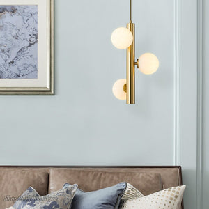 Nordic Designer Golden Pendant Lights Creative Magic Bean Frosted Glass Ball Hanging Lamp Living Room Bedside Led Light Fixtures