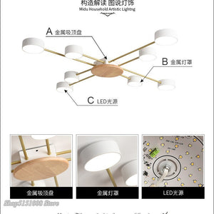Nordic Designer LED Ceiling Lights Modern Living Room Ceiling Lamps Metal Wooden Lampshades Art Decor Bedroom Lighting Fixtures