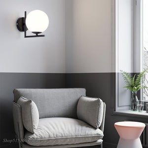 Nordic Glass Ball Wall Lamps Modern Bedroom Gold Led Wall Light Fixture Industrial Sconce Lamp Home Loft Decor E27 110V 220V
