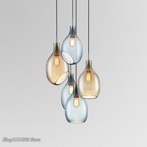 Nordic Glass Pendant Lights Danish Wine Bottle Pendant Lamps Modern Living Room Bedroom Kitchen Hanging Lamp Decor Luminaire