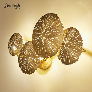 Nordic Gold Lotus Leaf Wall Lamp Retro Wall Lamp All Copper Wall Sconce Industrial Decor Bedroom Bedside Lighting Fixtures