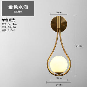 Nordic Golden Droplets Wall Lamp White Glass Lampshade Luxury Wall Sconce Bedroom Beside Bar Aisle Wall Light Lighting Fixtures