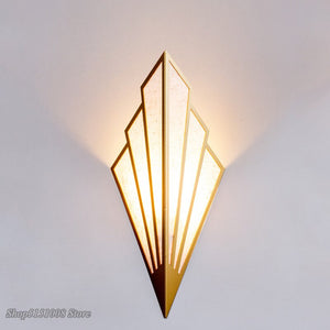 Nordic Industrial Fan Wall Lamps Sconce Vintage Led Golden Wall Lights For Bedroom Corridor Loft Decor Light Fixtures Luminaire
