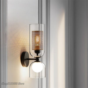 Nordic Iron Net Glass Wall Lamps Modern LED Wall Light Sconce Hotel Cafe Corridor Aisle Bedside Creative Double Head Fixtures