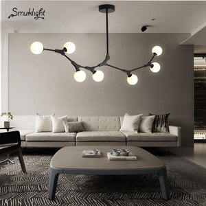 Nordic LED Chandeliers Glass Lighting Minimalist Molecular Chandeliers Living Room Bedroom Bar Restaurant Lighting