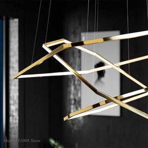 Nordic LED Pendant Lights Gold Stainless Steel Suspension Modern Design Acrylic Hexagon Pendant Lamp Living Room Lighting Decor