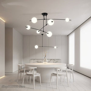 Nordic LED Chandelier Modern Creative Grinding Beans Hanging Lamp Dining Room Kitchen Hanging Light Rotatable Adjustable Fixture