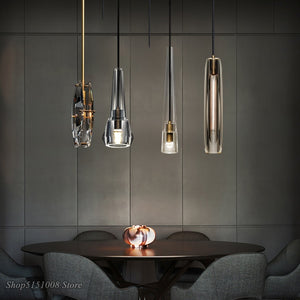 Nordic Luxury LED Crystal Pendant Lights Modern Living Room Copper Hanging Lamp Bedroom Bedside Dining Room Suspend Lamp Fixture