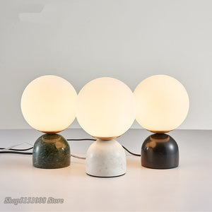 Nordic Marble Table Lamp Moderm Simple Creative Study Room Children Room Desk Light Bedroom Glass LED Table Light Decor Fixtures
