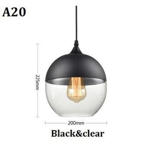 Nordic Metal Industrial Glass Pendant Light Black Loft Bar Dining Room Kitchen Hanging Lamp Luminaire Iron+Glass Lampshade Decor
