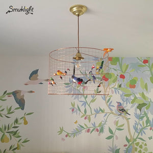 Nordic Modern Wrought Iron Birds Cage Pendant Light Lamp Suspension Luminaire LED E27 Decor Hanging Light Fixtures