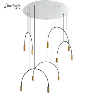 Nordic Pendant Lamps Modern Pendant Lights Dining Room Bedroom Bedside Restaurant Arched Living Room Ring Hanging Lamps Fixtures