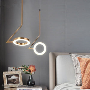 Nordic Pendant Lamps Novelty Aluminum Rings Shine Led Pendant Lights Luminaria Modern Bedroom Brass LED Creative Decor Fixtures