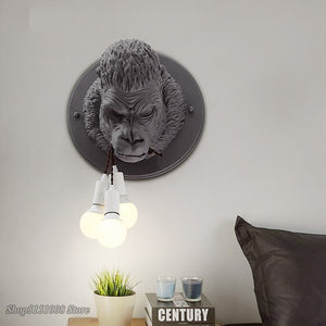 Nordic Resin Gorilla Wall Retro Modern Led Wall Sconce Loft Bedroom Bedside Lamps Luminaire Industria Decor Wall Light Fixtures