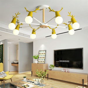 Nordic Macaron Antler Chandelier Modern LED Chandeliers Bedroom Dining Room Iron Wood Deer Head Hanging Lamps Decor Fixtures