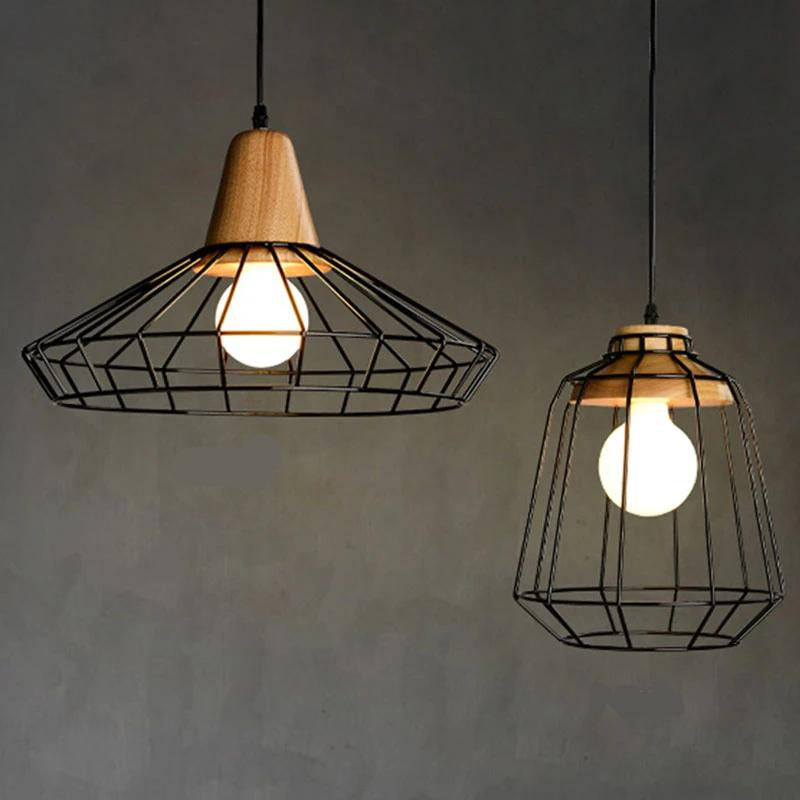 Nordic Vintage Wood Pulley Pendant Light 90-260v Lamp Industrial Lighting Fixtures Retro Hanglamp For Bar Living Room Restuarant