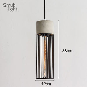 Post Modern Hanging Cement Pendant Lamp Contemporary Concrete Black Caged Pendant Lights Wrought Iron Lighting