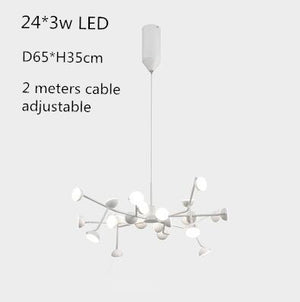 Post Modern Horizontal Hanging Lamp Ding Room Kitchen Shop LED Pendant Light White Black Branch Lamp Restaurant Lighting Fixture