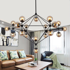 Post Modern Modo Lamp Pendant Light Black Metal Amber Glass Hanging Lamp Retro Industrial Black Drop Lamp Dining Room Restaurant