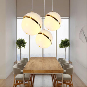 Post Modern White Ball Pendant Ceiling Lamp Restaurant Bedroom Kitchen Loft Retro Acrylic Ball Art Deco Hanging Lamp Luminaire