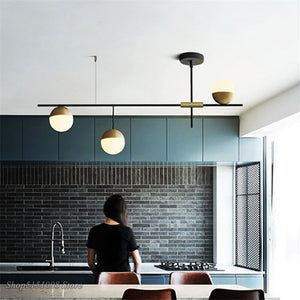 Post-modern LED Chandeliers Lighting Industrial Designer Pendant Lamp Glass Ball Hanging Lamp Luminaire Living Room Home Decor