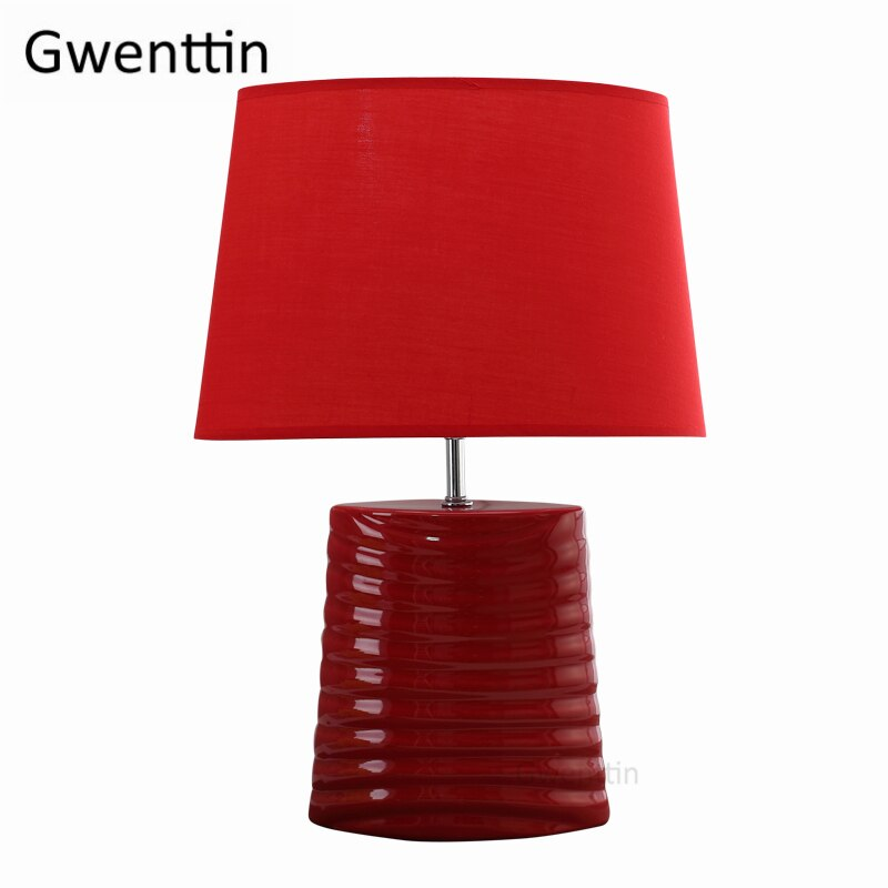 Red Ceramic Table Lamps Living Room Modern Led Beds Stand Light Fixtur Lighting Essential