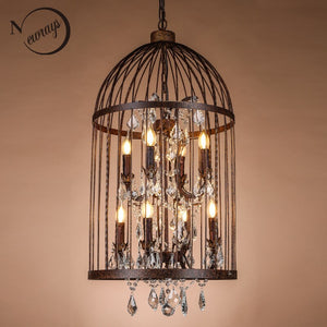Retro Blackrust Iron Birdcage Style Chandeliers E14 Big Style Crystal Chandelier Modern LED Lighting For Living Room Kitchen
