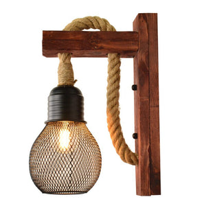 Retro Hemp Rope LED Wall Lamp Modern Wooden Living Room Bedroom Bedside Wall Light Industrial Decor Lighting Fixtures Luminaires