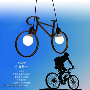 Retro Pendant Light Creative Iron Bicycle Pendant Lamp Living Room Simple Restaurant Bar Industrial Kitchen Hanging Lamps