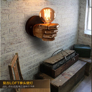 Retro Right Hand Fist Resin Wall Lamp Loft Industrial Wind Decoration Antique Wall Light E27 Bedroom Light Sconce Led Fixtures