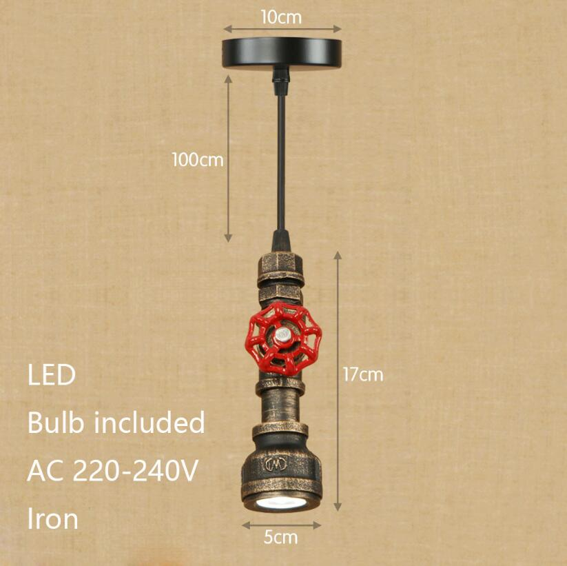Retro Industrial Iron Water Pipe Pendant Light LED With 4 Styles For Living Roomrestaurantbarcafekitchenbed Roomhotel