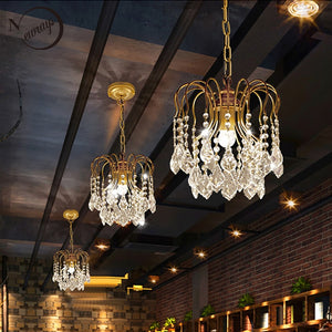 Retro Vintage Blackgolden Color Large American Style Crystal Chandeliers Modern E14E27 Lustre Lamp For Hardware Living Room