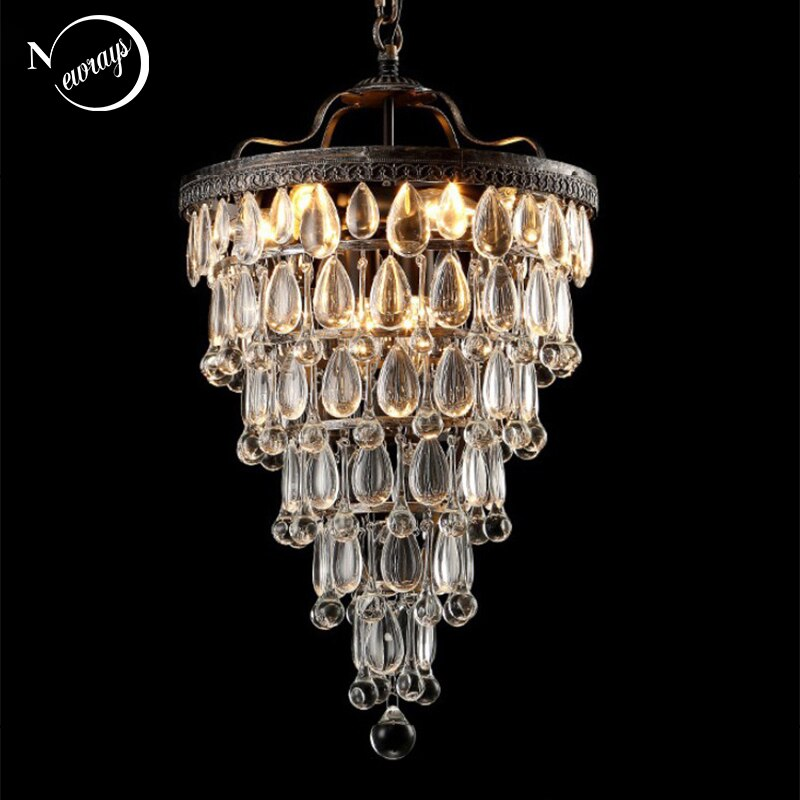 Retro Vintage Cooper Crystal Drops E14 LED ChandeliersLARGE EMPIRE STYLE Lustres Chandelier Lighting For Living Room