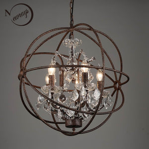 Retro Vintage Rust Iron Cage Chandeliers E14 Big Style Crystal Chandelier Lustre LED Lamp Lighting For Living Room Bedroom Bar