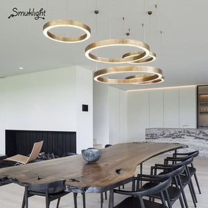Ring Design Modern LED Chandelier Lamp Stainless Steel Gold Chandelier Living Lighting Projects Lights Decorative Lighting