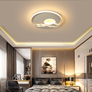 Round Dimmable Modern Ceiling Lights Sunset Ceiling Lamp For Kitchen Living Room Bedroom Study Room Color LED Ceiling Lighting
