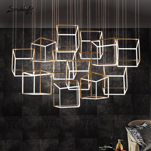 Square Modern Gold Chandelier Crystals Diamond Lamp Stainless Steel Hanging Light Fixtures Adjustable Cristal LED Lustre Lamp