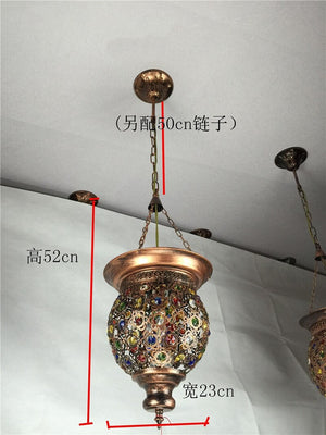 Turkish Bohemia Pendant Lights Glass Lamp Light Stained Moroccan Kitchen Hanging Lamps Corridor Restaurant Industrial Decor
