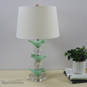 Vintage Crystal Green Bird Table Lamps American Country Table Lights Bedside Bedroom Living Room Light Idyllic Decor Fixtures