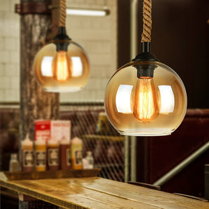 Vintage Glass Ball Pendant Lights Hemp Rope Pendant Lamp Loft Dining Room Coffee Hotel Industrial Decor Hanglamps Led Luminaire
