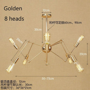 Vintage Gold Silver Spider Chandeliers 6-16 Head Modern Simple Wrought Iron LED Hanging Lamp For Restaurant Cafe Home Decor