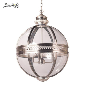 Vintage Loft Globe Pendant Lights Wrought Iron Glass Shade Kitchen Light Dinning Hanging Lamps Bar Pendente Luminaire Fixture