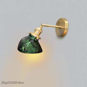 Vintage Wall Lights Green Glass Lampshade Foyer Bedroom Bedside Wall Lamp Led Bulb Corridor Wall Sconce Loft Decoration Fixtures